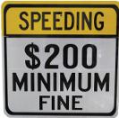 speeding $200 minimum fine
